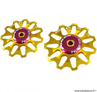 Galets de dérailleur 11 dents compatible shimano or (la paire) marque Token - Pièce vélo