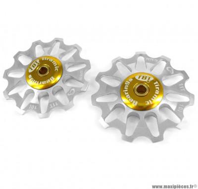 Galets de dérailleur 11 dents argent (la paire) marque Token - Pièce vélo