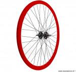 Paire de roues fixie 700c double paroies 43mm rouge - Accessoire Vélo Pas Cher