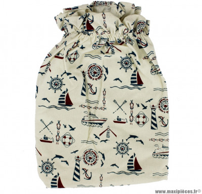 Housse en coton pour panier avant motif marin - Accessoire Vélo Pas Cher