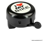 Prix spécial ! Sonnette timbre noire  «I love my bike» diam.55mm WTP