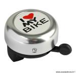 Sonnette couleur argent  i love my bike diamètre 55mm marque WTP - Accessoire vélo