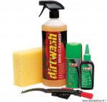 Kit de nettoyage conditions humides / brosse / lubrifiant / nettoyant marque Weldtite - Accessoire vélo