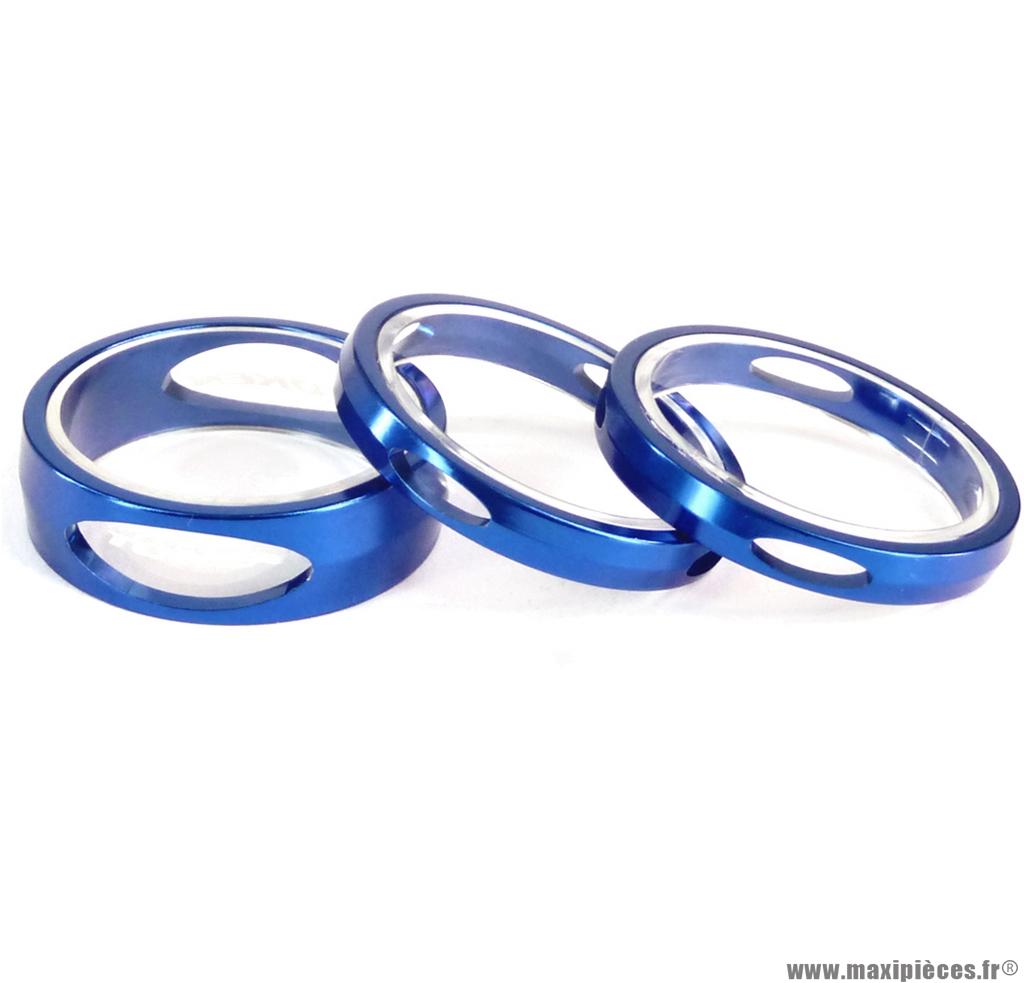 Entretoise ahead-set 3d 12,3 grammes bleu (jeu de 3 - 2 en 5mm et 1 en 10mm) marque Token - Matériel pour Vélo