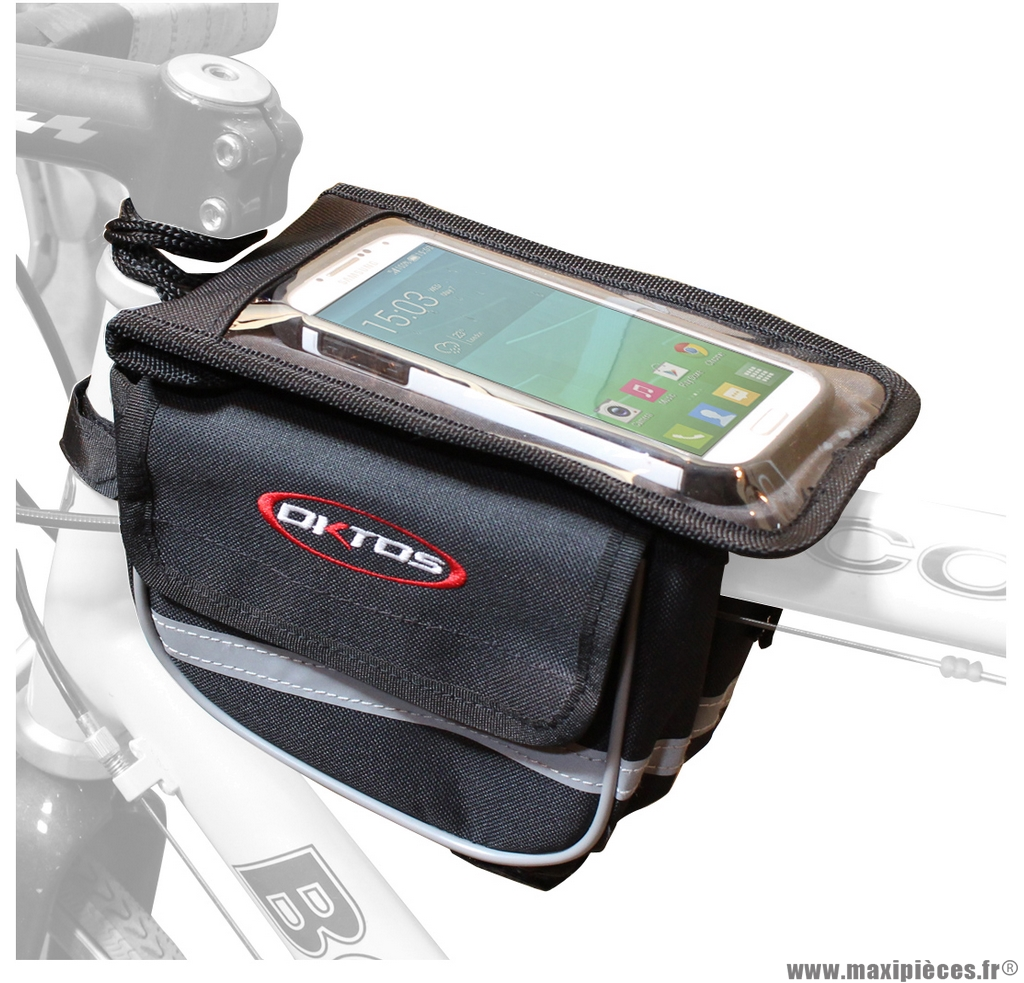 Sacoche fixation top tube avec housse smartphone marque Oktos- Equipement cycle