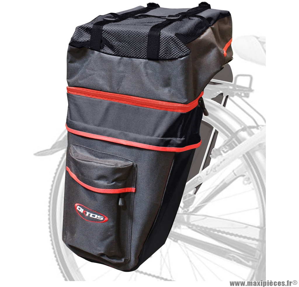 Sacoche de vélo arrière 3 parties noir marque Oktos- Equipement cycle