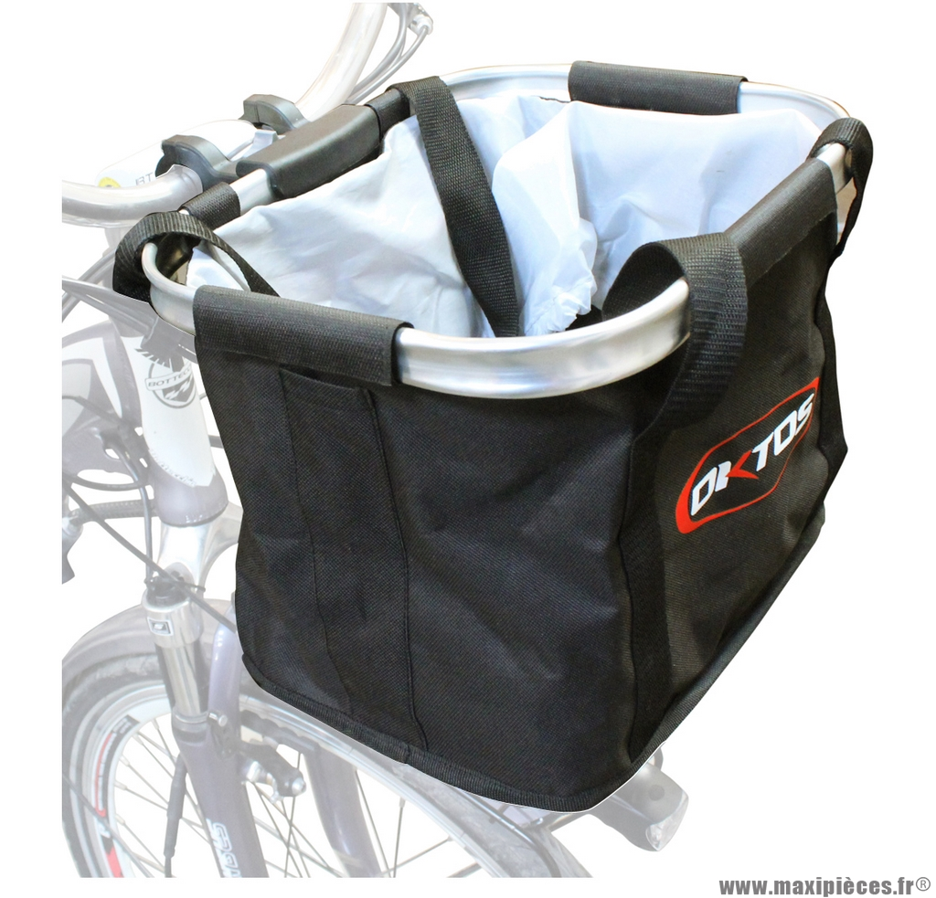 Panier avant souple pliable fixation cintre marque Oktos - Matériel pour Vélo