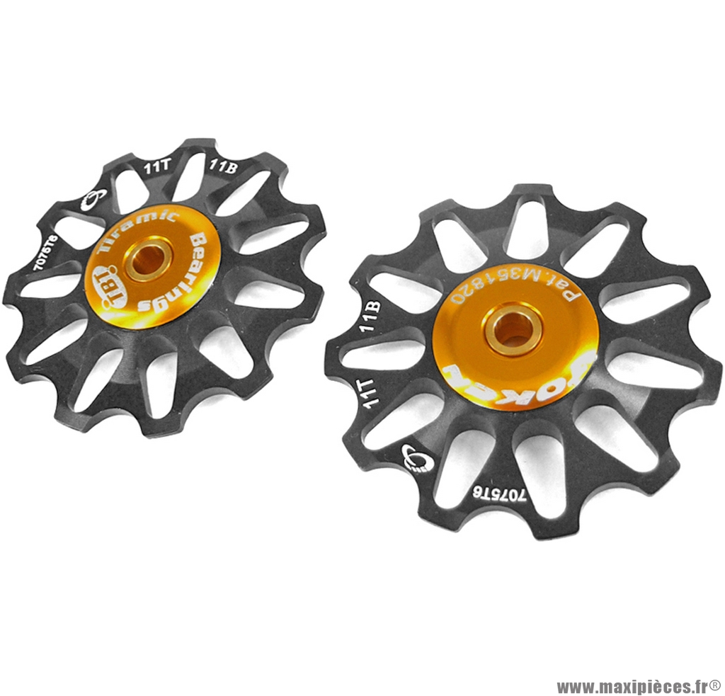 Galets de dérailleur 11 dents noir (la paire) marque Token - Pièce vélo