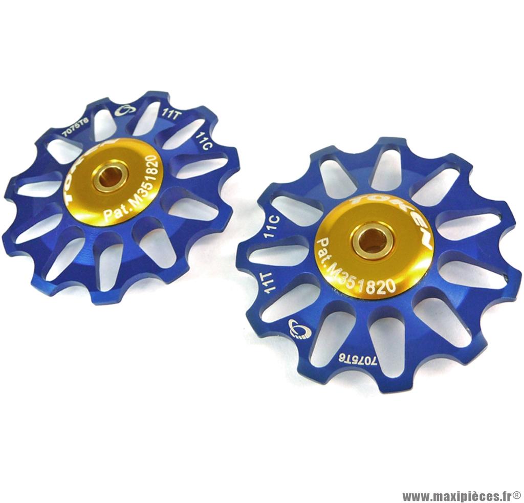 Galets de dérailleur 11 dents bleu (la paire) marque Token - Pièce vélo