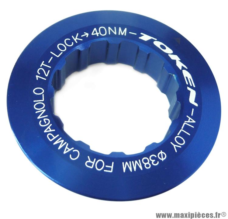 Ecrou de cassette campagnolo 12 dents bleu marque Token - Pièce vélo