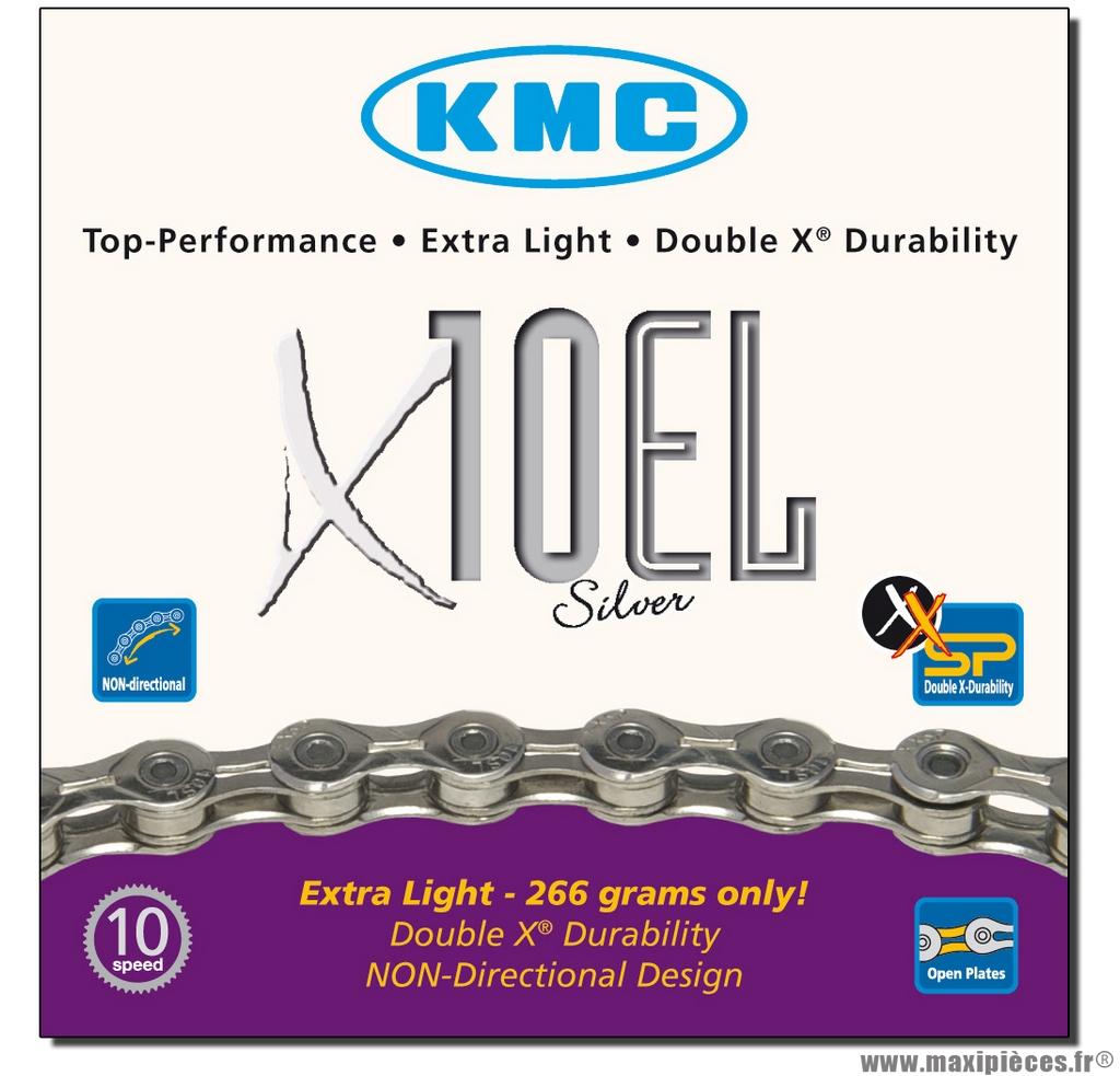 Chaîne de vélo à 10 vitesses modèle x10el argent marque KMC - Matériel pour Vélo