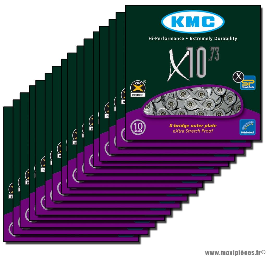Chaîne de vélo à 10 vitesses modèle x10,73 carton de 25 chaines vrac marque KMC - Matériel pour Vélo