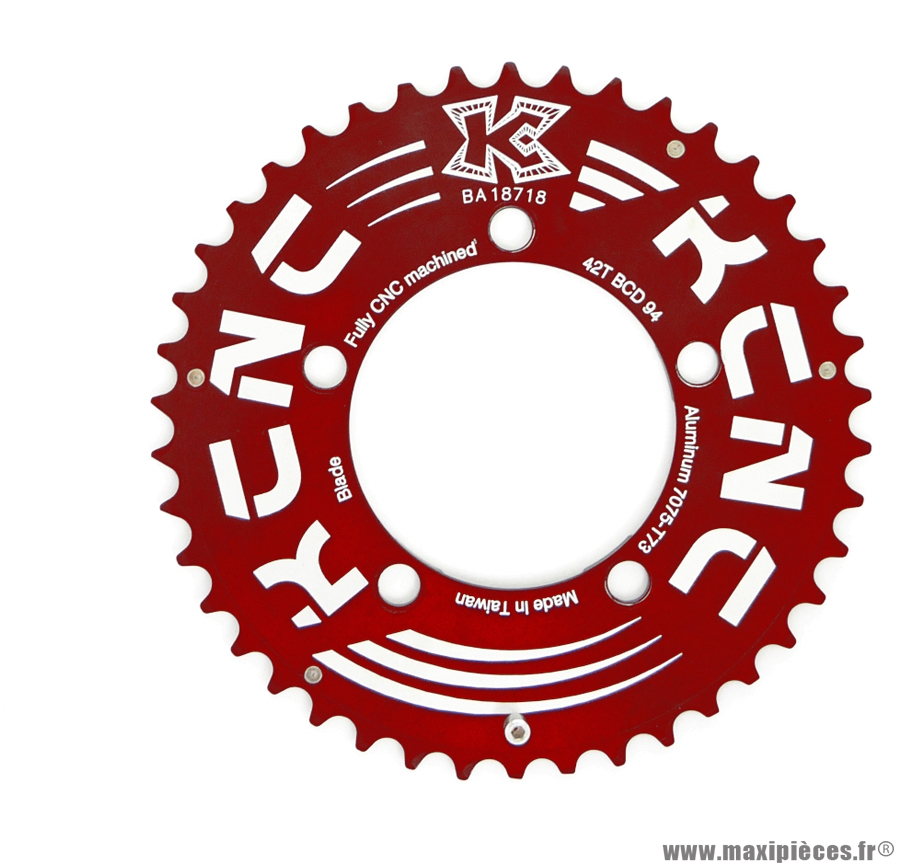 Plateau 42 dents plein pédalier double VTT rouge marque KCNC - Pièce vélo