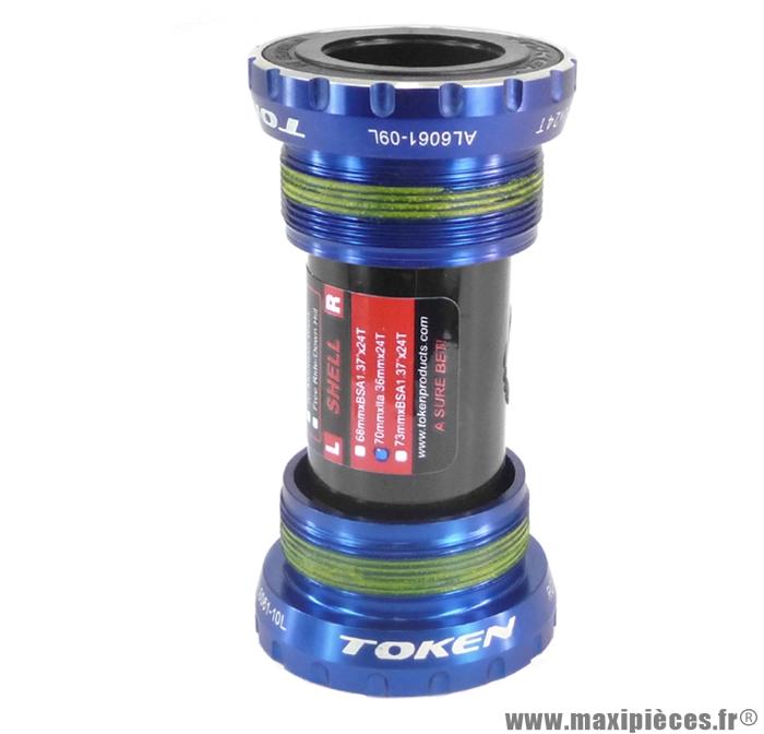 Boitier pédalier intégré bleu pas italien marque Token - Pièce vélo