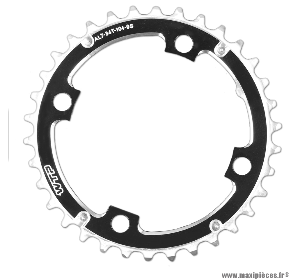 Plateau 34 dents 4 branches bcd104mm noir plateau intermédiaire marque WTP - Pièce vélo