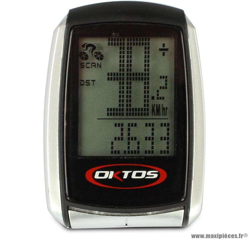 Compteur (16 fonctions) sans fil marque Oktos - Accessoire vélo