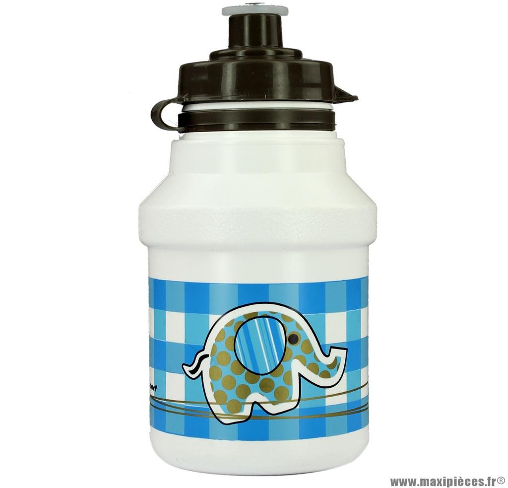 Bidon garçon éléphant blanc et bleu 300ml marque Polisport- Equipement cycle