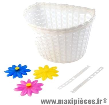 Panier avant enfant plastique blanc avec décors a crochets - Accessoire Vélo Pas Cher