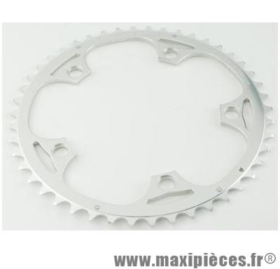 Plateau 52 dents route diamètre 130 extérieur argent alize (comp.shimano) marque Spécialités TA - Matériel pour Vélo