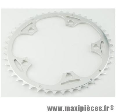 Plateau 53 dents route diamètre 130 extérieur argent alize (comp.shimano) - Accessoire Vélo Pas Cher