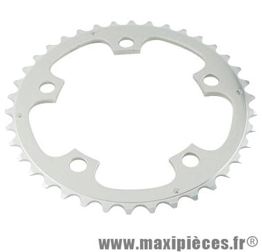 Plateau 38 dents route diamètre 110 interm argent zephyr (comp.shimano) marque Spécialités TA - Matériel pour Vélo