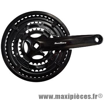 Pédalier VTT triple 48-38-28d l170 acier noir manivelles plast. (axe carre 122) marque Sunrace - Matériel pour Vélo