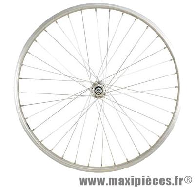 Roue VTT 24 pouces avant écrou axe plein alu argent - Accessoire Vélo Pas Cher