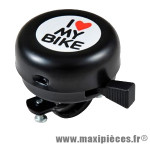 Sonnette noir i love my bike marque Atoo - Matériel pour Vélo