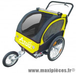 Remorque/poussette enfant 2 en 1 (2 roues 20 pouces et 1 roue 12 pouces) avec frein - jaune marque Atoo - Matériel pour Vélo