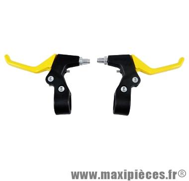 Levier de frein vélo VTT v-brake 2 doigts alu jaune (paire) - Accessoire Vélo Pas Cher