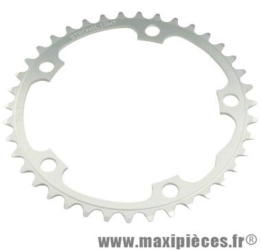Plateau 39 dents route diamètre 130 intérieur argent dural 10/9v. marque Stronglight - Pièce Vélo