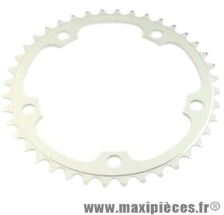 Plateau 40 dents route diamètre 130 intérieur argent dural 10/9v. marque Stronglight - Pièce Vélo