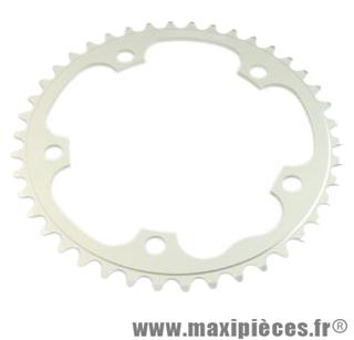 Plateau 42 dents route diamètre 130 intérieur argent dural 10/9v. marque Stronglight - Pièce Vélo