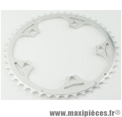 Plateau 49 dents route diamètre 130 extérieur argent alize (comp. shimano) marque Spécialités TA - Matériel pour Vélo
