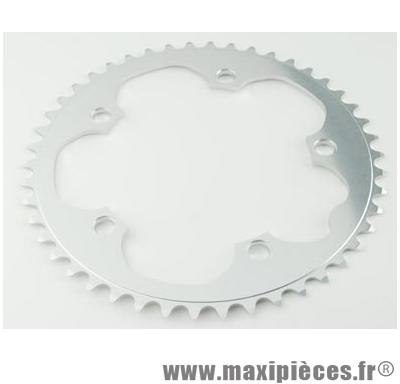 Plateau 46 dents route diamètre 130 extérieur argent dural 10/9v. marque Stronglight - Pièce Vélo