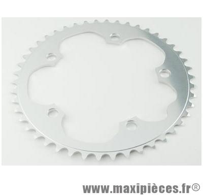 Plateau 52 dents route diamètre 130 extérieur argent dural 10/9v. marque Stronglight - Pièce Vélo