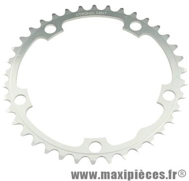 Plateau 38 dents route diamètre 130 intérieur argent dural 10/9v. marque Stronglight - Pièce Vélo