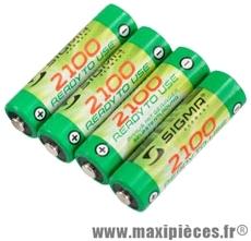 Pile éclairage rechargeable rtu 2100 mah (x4) marque Sigma - Accessoire Vélo