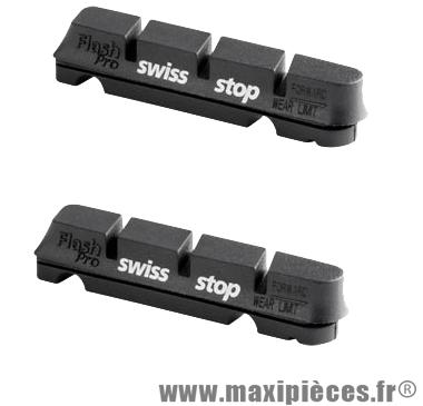 Patin route flash pro noir jte alu gomme tendre adaptable shimano/sram(2 pr) marque SwissStop - Matériel pour Cycle