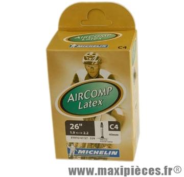 Chambre à air de VTT 26x1.75/2.10 vp c4 latex aircomp(26-8m) marque Michelin - Pièce Vélo