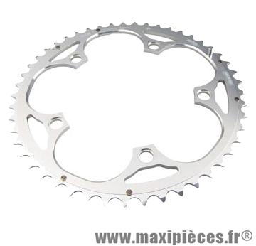 Plateau 48 dents route diamètre 130 extérieur argent 10/9v. marque Miche - Pièce Vélo