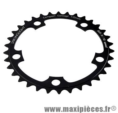 Plateau 34 dents route diamètre 110 intérieur noir dural 10/9v. marque Stronglight - Pièce Vélo