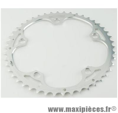 Plateau 52 dents route diamètre 135 extérieur argent 9/10v. marque Miche - Pièce Vélo