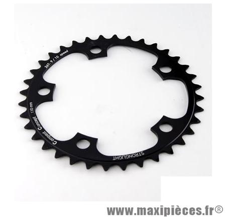Plateau 36 dents route diamètre 110 intérieur noir dural 10/9v. marque Stronglight - Pièce Vélo