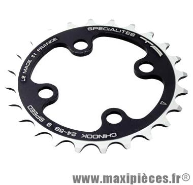 Plateau 24 dents VTT triple diamètre 58 intérieur noir 4 branches chinook 9v marque Spécialités TA - Matériel pour Vélo