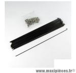 Rayon 1,8mm inox noir l260 avec écrou(x1) marque Mach1 - Matériel pour Cycle * Prix spécial !