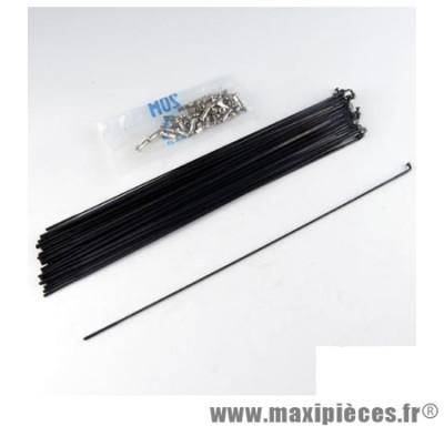 Rayon 2mm inox noir l287 avec écrou(x1) marque Mach1 - Matériel pour Cycle * Prix spécial !