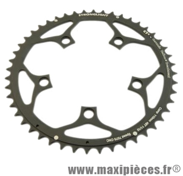 Plateau 48 dents route diamètre 110 extérieur noir ct2 téflon ceramic 11/10v. marque Stronglight - Pièce Vélo