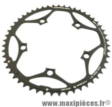 Plateau 52 dents route diamètre 130 extérieur noir ct2 téflon ceramic 11/10v. marque Stronglight - Pièce Vélo