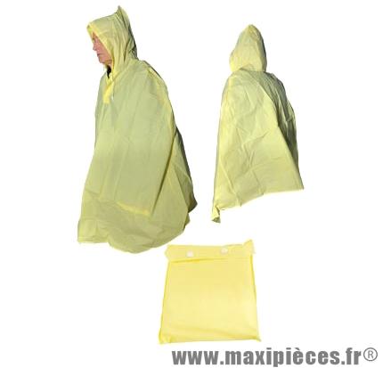Poncho pluie pvc jaune avec poche de rangement - Accessoire Vélo Pas Cher